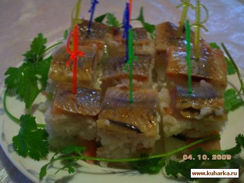 Рецепт Ленивое суши с селедкой