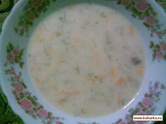 Рецепт Cырный суп с сырной лапшой.