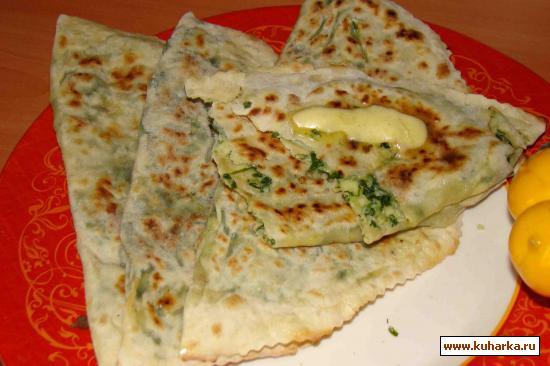 Рецепт Кята (кутаб)испеченый с зеленью без масла