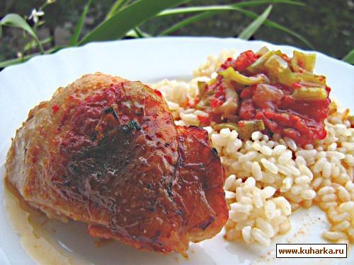 Рецепт Курица с красным сладким перцем и помидором