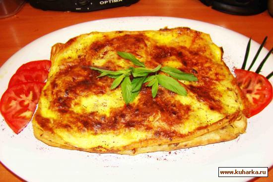 Рецепт Пирог из лаваша с баклажаново-мясной начинкой