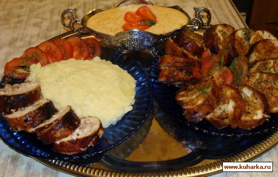 Рецепт Куриный рулет с орехами