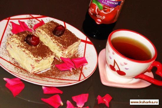 Рецепт Бисквитные пирожные с вишневым сиропом