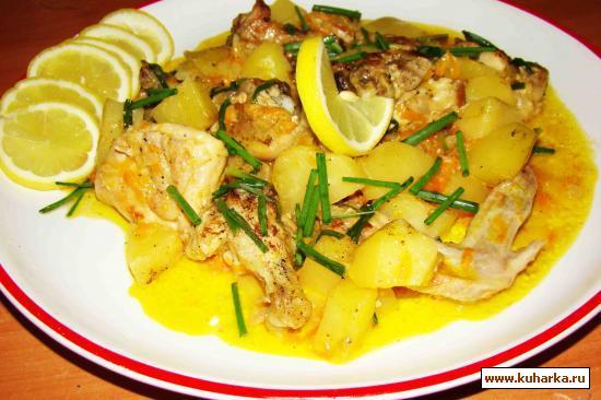 Рецепт Картошка, тушеная с курицей