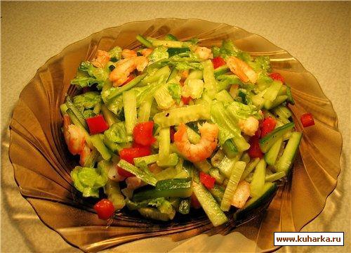 Рецепт Зеленый салат с креветками