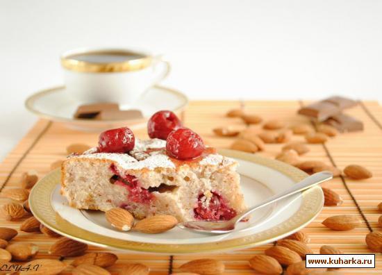 Рецепт Вишневый пирог с миндалем и шоколадом