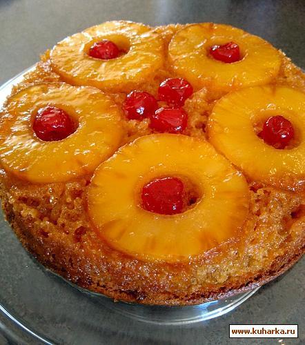 Рецепт Быстрый ананасовый пирог со сгущенным молоком