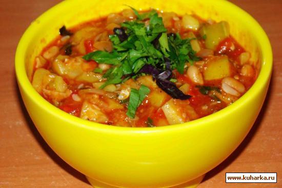 Рецепт Кабачки с фасолью и томатами