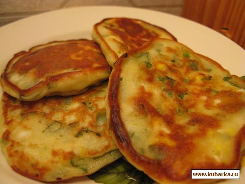 Рецепт Оладьи с зеленым луком и яйцом