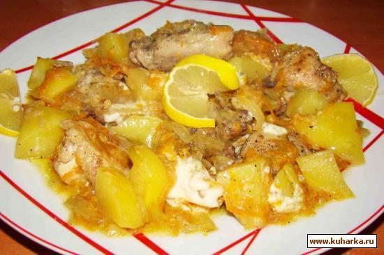 Рецепт Курица тушеная в горшочке с овощами