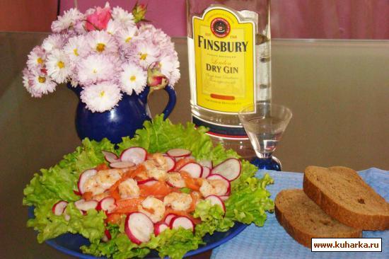 Рецепт Салат с семгой и креветками