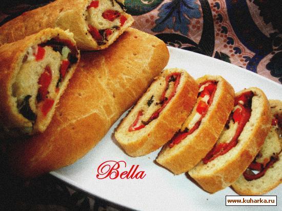 Рецепт Багет с сыром,салями и с красным перцом