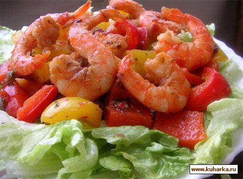 Рецепт Салат с перцем и креветками