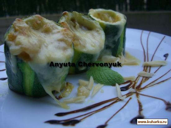Рецепт Кабачки-цуккини начинённые яблоком (Calabacines rellenos de manzana)