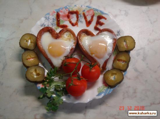 Рецепт Романтическая яичница.