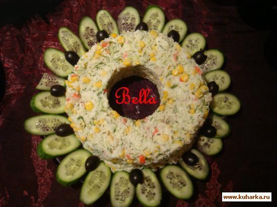Рецепт Салат из крабовых палочек с рисом