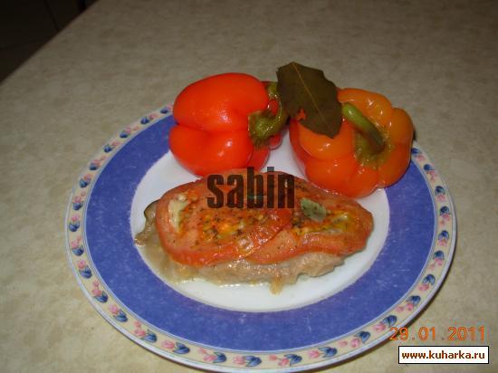 Рецепт Шницель теленка с баклажанами и помидорами