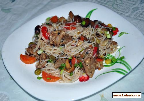 Рецепт Рисовая лапша с мясом, грибами и овощами
