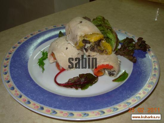 Рецепт Филе курицы фаршированное красным перцем и маслинами