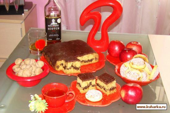 Рецепт Пирог с ореховой начинкой под шоколадной глазурью
