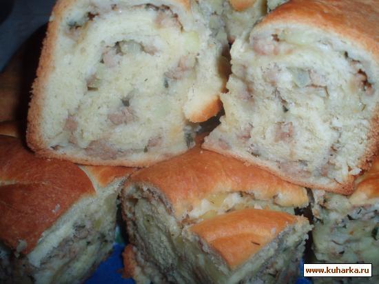Рецепт Пирог из быстрого теста с картофельно-мясной начинкой