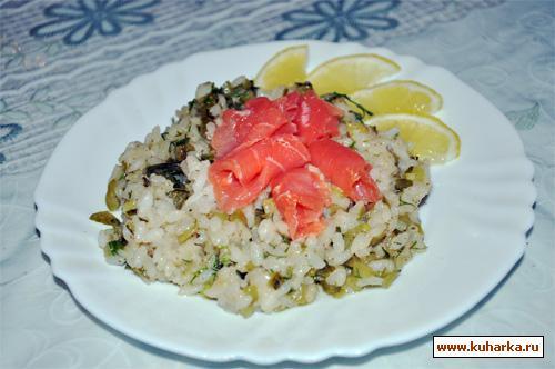 Рецепт Огуречно-лимонный рис с красной рыбкой