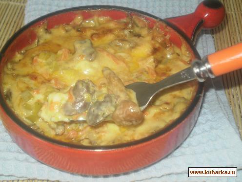 Рецепт Куриные сердечки,запеченные в сырном соусе