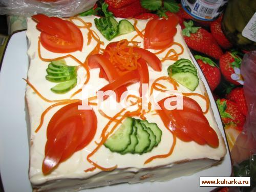 """Рецепт Бутебродный торт """"Рыбка в сливках"""""""
