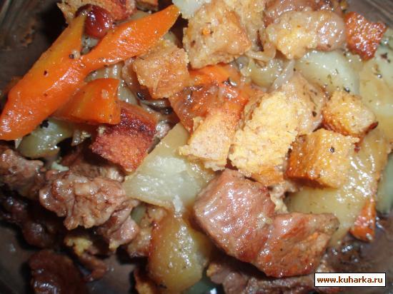 Рецепт Жаркое из говядины с изюмом и пикантными сухариками