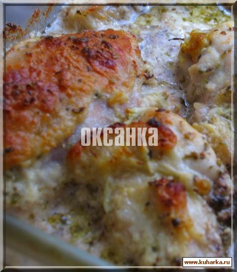 Рецепт Курица в маринаде из кефира и базилика