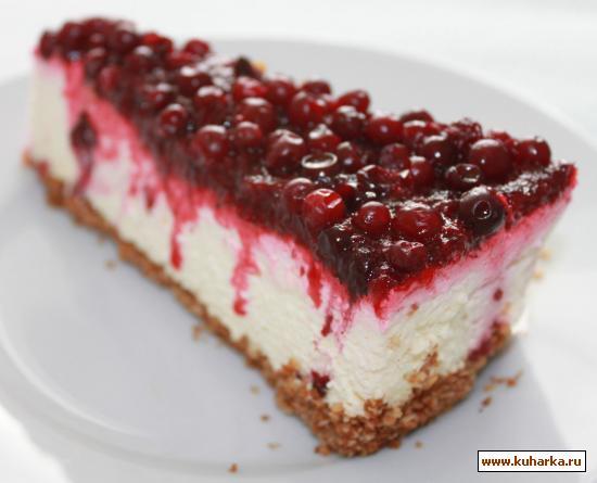 Рецепт Исландский торт с брусникой (чизкейк без выпечки)