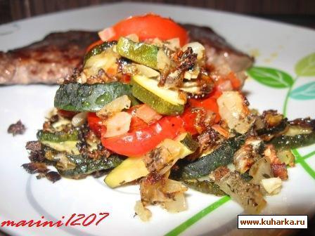 """Рецепт """"Tian de courgettes"""" (Запеканка с цуккини и помидорами)"""