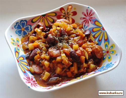 Рецепт Овощное рагу с фасолью и охотничьми колбасками