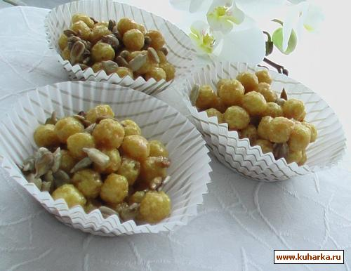 Рецепт Карамельные шарики из корнфлекса и семечек