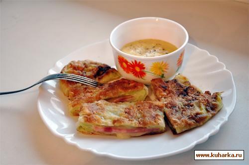 Рецепт Капустный шницель с ветчиной и сыром