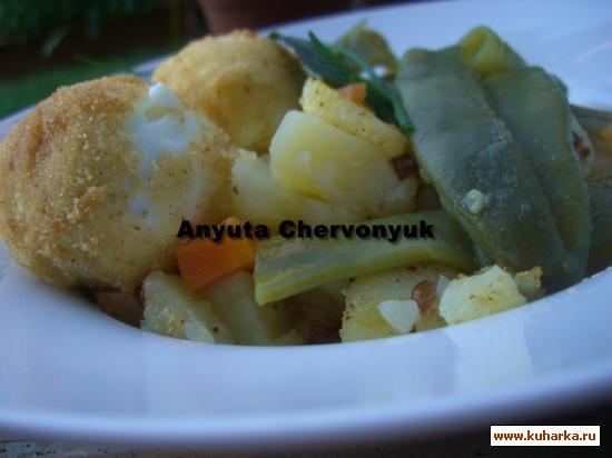 Рецепт Стряпня из яйца с моркови, стручковой фасоли и бульона.