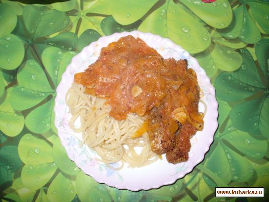 Рецепт Паста с куриными нагетсами с овощной подливкой