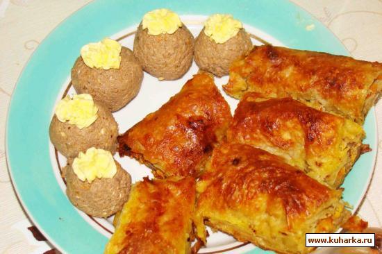 Рецепт Паштет из печени с орехами. Рулет из лаваша с мясной начинкой