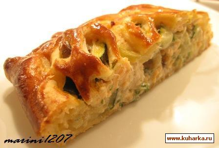 Рецепт Пирог с лососем, цуккини и шампиньонами
