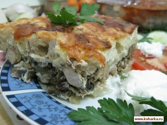 Рецепт Запеканка картофельная с куриным мясом и печенью