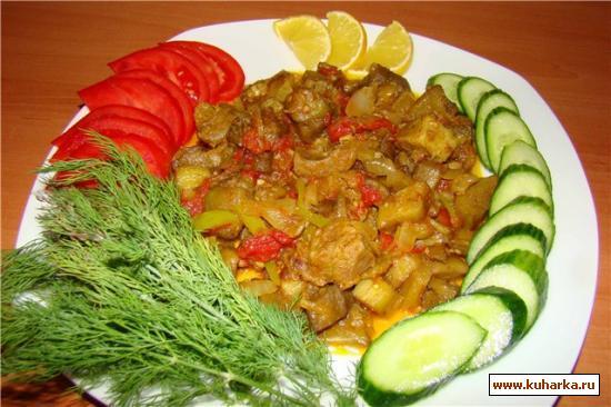 Рецепт Баклажаны с жареным мясом