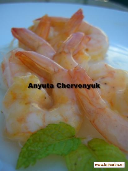 Рецепт Жаренные креветки в сладком лимонном соусе.