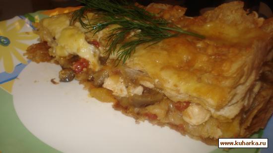 Рецепт Запеканка из лаваша, курицы и овощей.