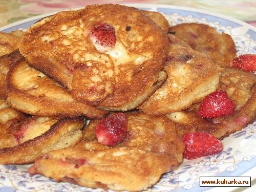 Рецепт Бисквитные оладьи с земляникой