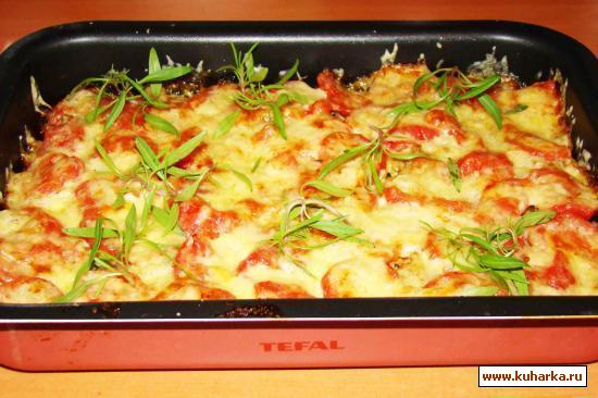 Рецепт Картофель,помидоры, мясной фарш под сыром