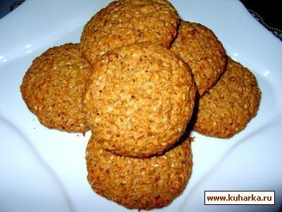 Рецепт Овсяное печенье с кокосовой стружкой и кунжутом