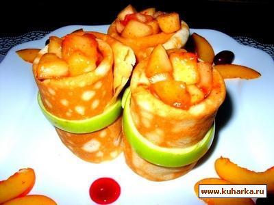 Рецепт Блинчики с фруктами фламбе