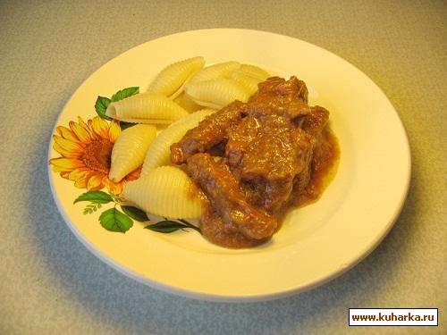 Рецепт Бефстроганов под кабачковым соусом