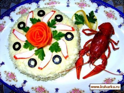 Рецепт Салат с раковыми шейками и крабовыми палочками