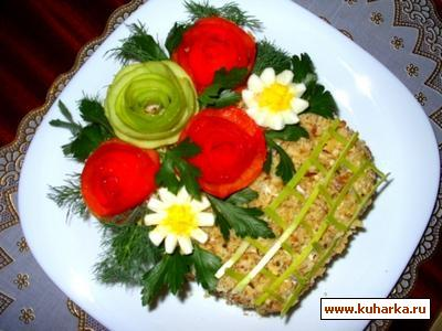 """Рецепт Салат """"Корзина с цветами"""""""